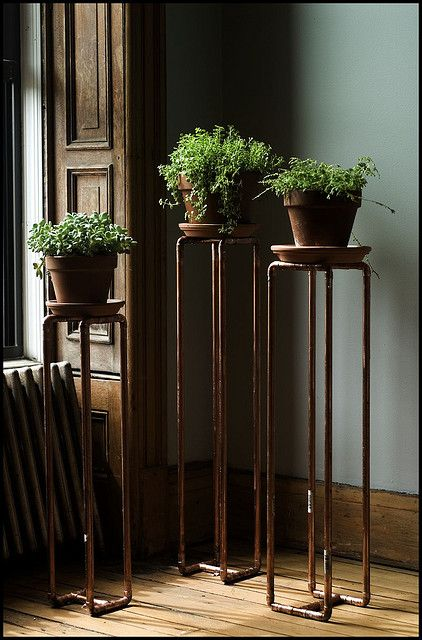 //Great way to display houseplants using copper pipes...//