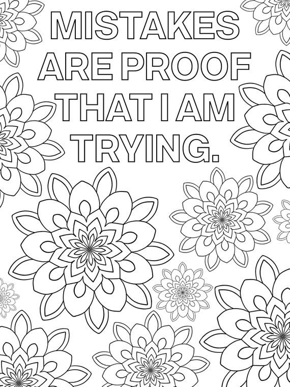 Growth Mindset Coloring Pages   Printable Mandala ...   free printable colouring pages quotes