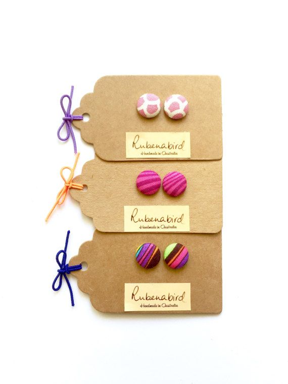 Earrings 3 pairs x Pink Fabric Button Earrings nickel free