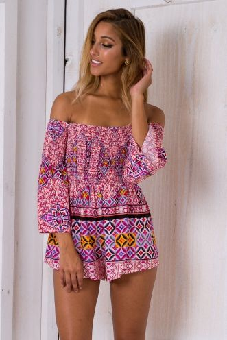 Hawaiian beauty playsuit -Pink/Red