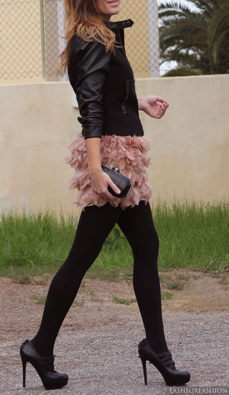Blush feather skirt & black leather jacket, tights, shoes.