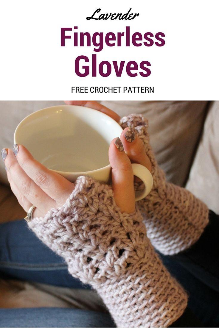 Lavender Fingerless Gloves - Free Crochet Pattern