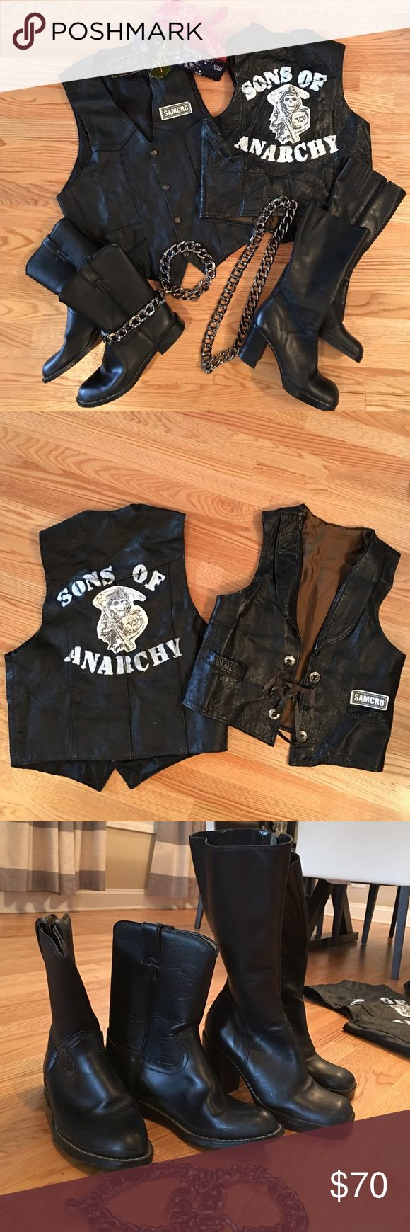 Sons of Anarchy men's and women's biker costume I've received tons of compliments on these homemade Sons of Anarchy his and her costumes using genuine leather vests and boots!  Men's boot is a 9 1/2, women's is a 9.  Faux metal chain around boots is plastic and slides on and off.  The leather is worn from years of love before converting to a costume, but still in mint condition.  Men's vest size 44. Women's medium/large. Other