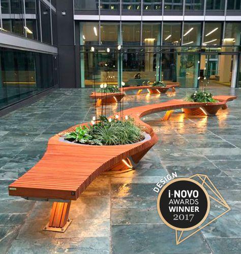 Public bench / original design / wooden / metal BOTANIC TWIST Tolerie Forezienne