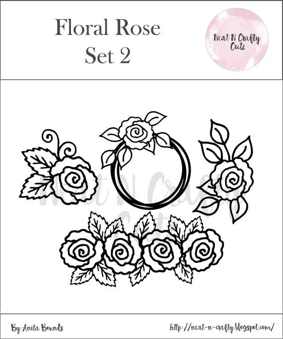 floral rose set 2 cut file. For scrapbooking and paper crafting