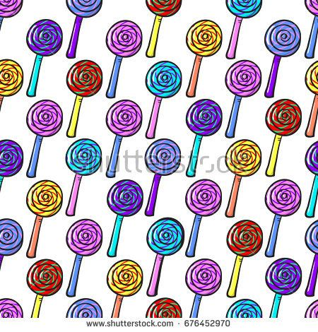 Seamless pattern with colourful lollypops. Repeatable vector illustration. Candy background. Sweet pattern.