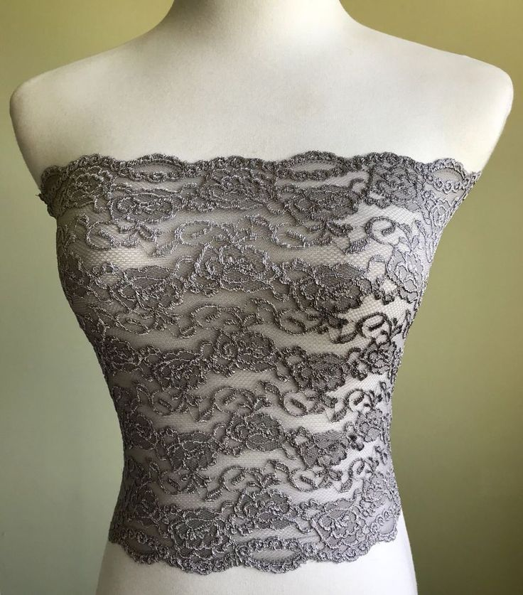 Ally Rose Toppers Silver Strapless Long Lace Cami Camisole Bandeau Top Size L XL  | eBay