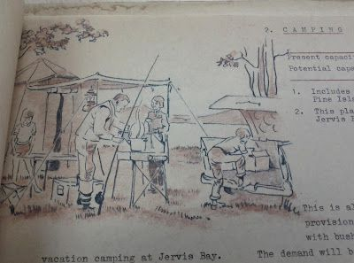 """Hand drawn illustrations in manuscript of draft of a plan for """"A Regional Park System for ACT"""""""