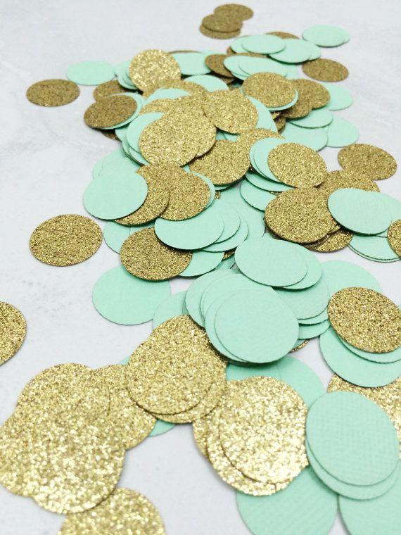 Mintgroen & goud Glitter Confetti  Cirkel door paperconfettidotcom