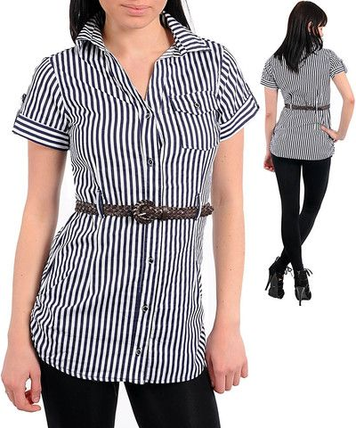 NAVY BLUE WHITE NAUTICAL STRIPES BUTTON UP BELTED BLOUSE SHIRT TUNIC T - viXXen Clothing