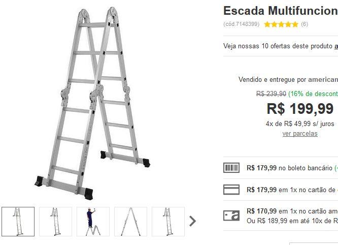 Escada Multifuncional 4x3 12 degraus Mor << R$ 17999 >>