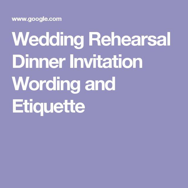 Rehearsal Dinner Invitation Etiquette
