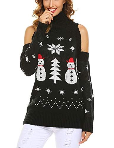 90744880b3d2b Beautiful Zeagoo Ugly Christmas Sweater Xmas Cold Shoulder Turtleneck  Pullovers Oversized Sweaters Christmas Clothing.