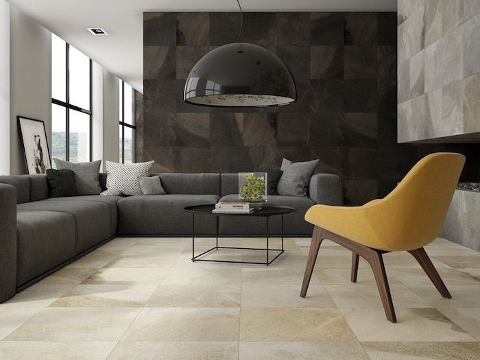 Black Stone Tile Wall Painting Accent Walls Dark Grey Sofa Yellow Armchair In 2020 Accent Walls In Living Room Living Room Decor Inspiration Living Room Designs