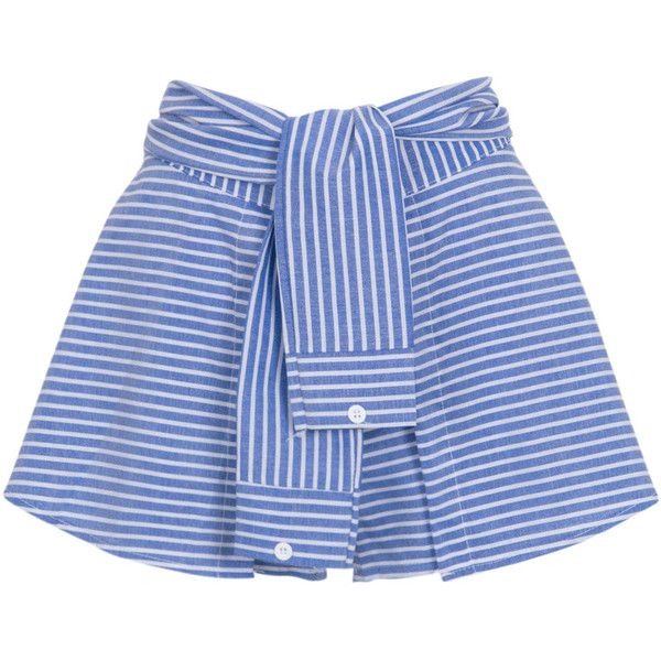 Blue Stripe Print Tied Front Culotte Shorts (130 HRK) ❤ liked on Polyvore featuring shorts, skirts, short, elastic shorts, striped shorts, culottes shorts, woven shorts and stretchy shorts