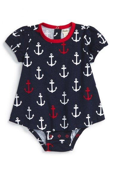 Hatley 'Nautical' Skirted Bodysuit (Baby Girls)