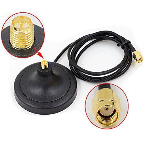 HUACAM HCM35N Wifi Antenne magnétique Support de base RP Connecteur SMA avec câble d'extension 3m: 3M RP-SMA antenne Wi-Fi Câble…