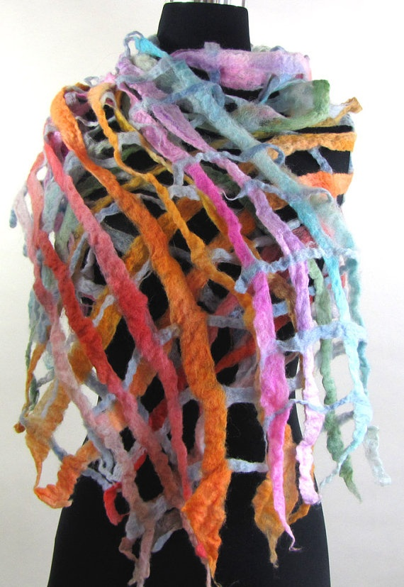 Cobweb Felted Rainbow Weave Shawl or Scarf Merino Wool by SongPony