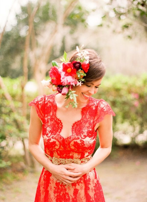 Custom Claire Pettibone 'Brigitte' gown in red re-embroidered lace w/ gold silk lining & belt | Photo: Lindsay Madden Photography via the Elizabeth Messina 'A Lovely Workshop' | Floral: Amy Osaba