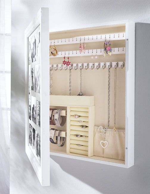Turn a picture frame into a jewelery storage.