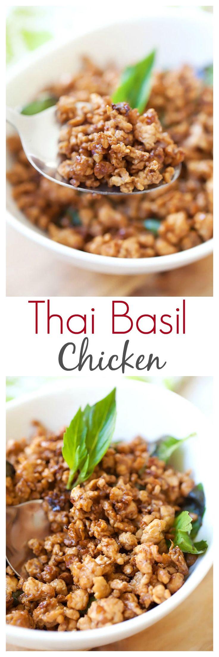 Albahaca tailandesa de pollo - hecho con carne picada de pollo, hojas de albahaca, y los chiles. Pollo albahaca es genial con arroz y esta receta es muy fácil y auténtico | rasamalaysia.com
