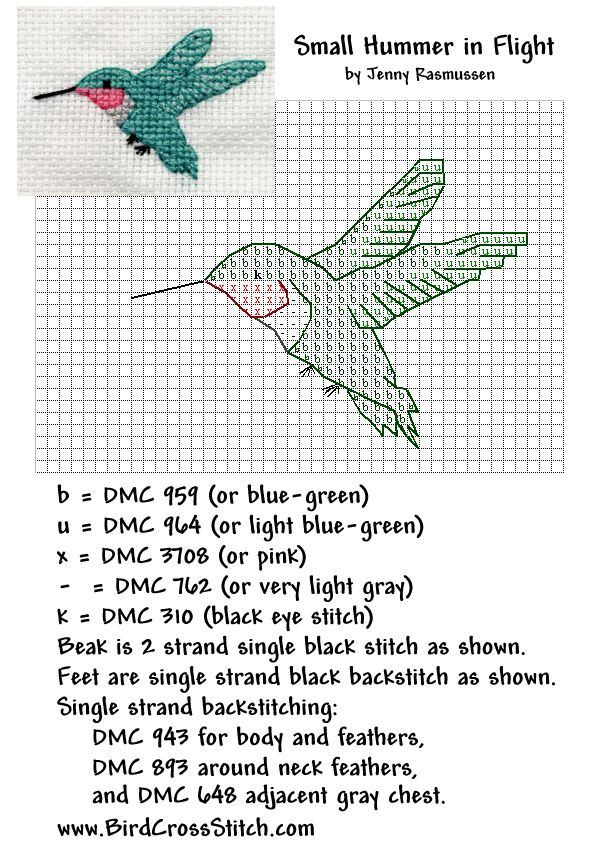 Hummingbird Cross Stitch Pattern Colibrí para punto y cruz!