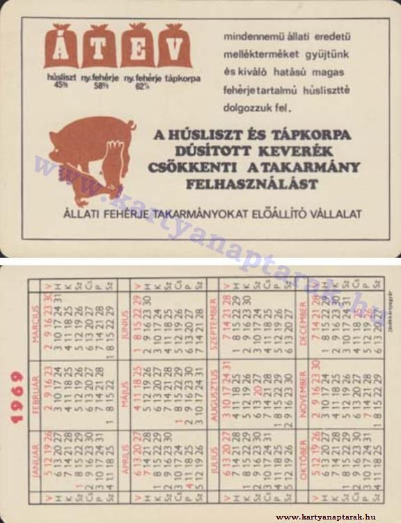 1969 - 1969_0311 - Régi magyar kártyanaptárak
