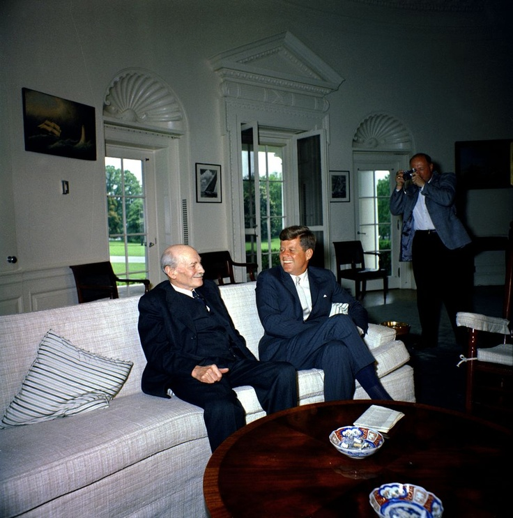 President John F. Kennedy with Clement Attlee, 1st Earl Attlee, Former British Prime Minister and Labour Party Leader.