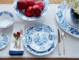 12PC Cambridge Rose Cobalt Melamine Dinnerware Set (Service for 4)