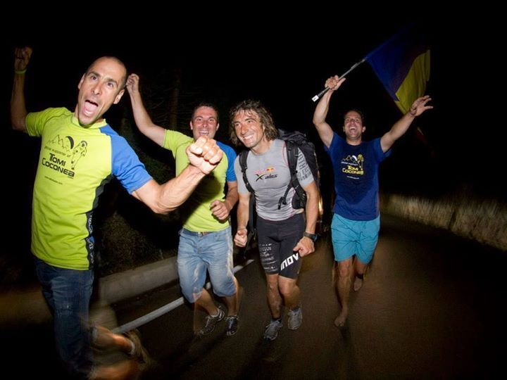 The Romanian running machine Toma Coconea, after hiking 130km in a day to reach the finish.