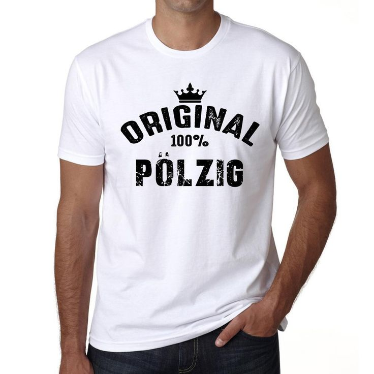 pölzig, 100% German city white, Men's Short Sleeve Rounded Neck T-shirt