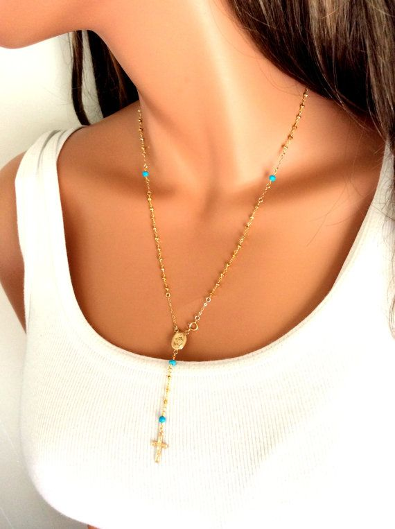 Gold Rosary Necklace with Turquoise by divinitycollection on Etsy, $135.00