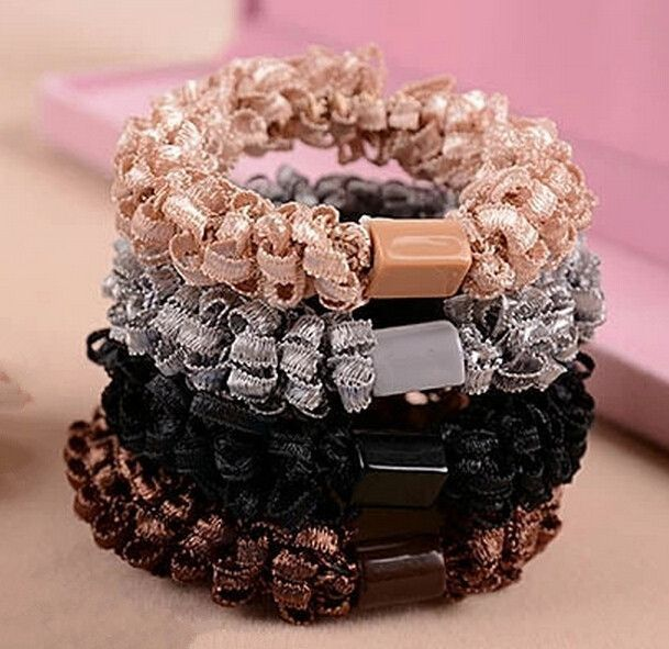 2015 New Fashion Popcorn Fabric Ponytail Holders Hair Accessories Girl Women Big Elegant Rubber Band Tie Gum