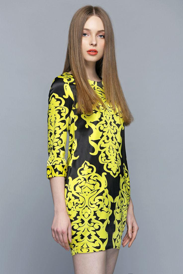Royal Yellow and Black Print Shift Dress  http://www.macaronfashion.com/dresses/view-all/royal-yellow-and-black-print-shift-dress-180.html