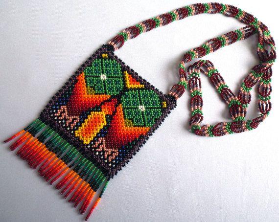 Huichol Beaded Peyote Necklace by Aramara on Etsy