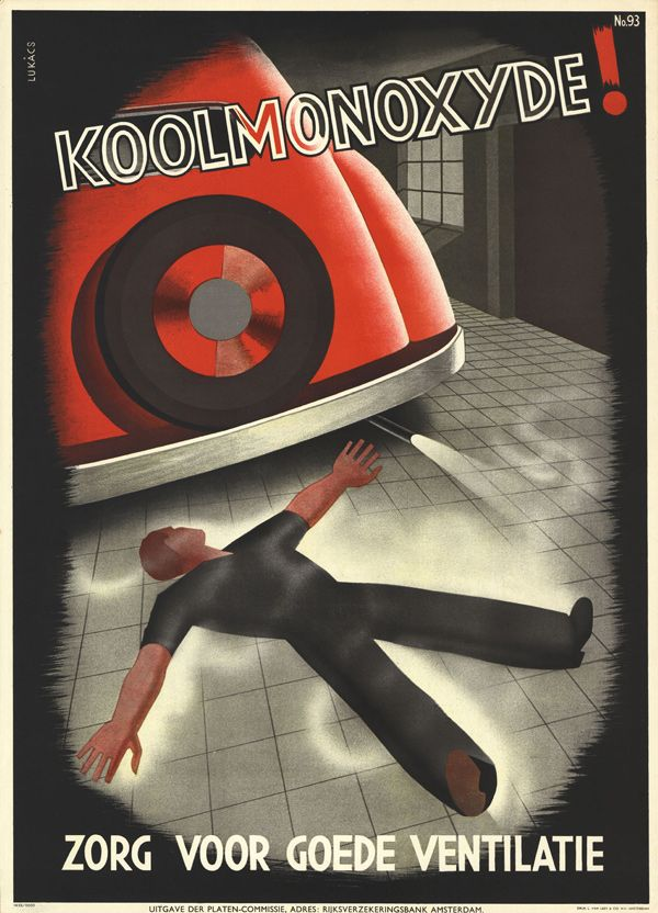"""Carbon Monoxide: Ensure Good Ventilation"" 1939, poster by E. Lukàcs Hoogspanning!: More Dutch Safety Posters - 50 Watts"
