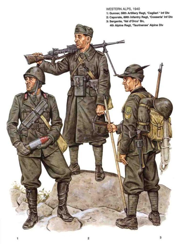 """Regio Esercito  - Fronte alpino Ovest, 1940 - 1 Mitragliere, 59o rgmt Artiglieria Divisione """"Cagliari"""" - 2 88o Rgmt, fanteria Divisione """"Cosseria"""" - 3 Sergente, Battaglione """"val d'Orco, 4o rgmt alpini, Divisione """"Taurinense"""""""