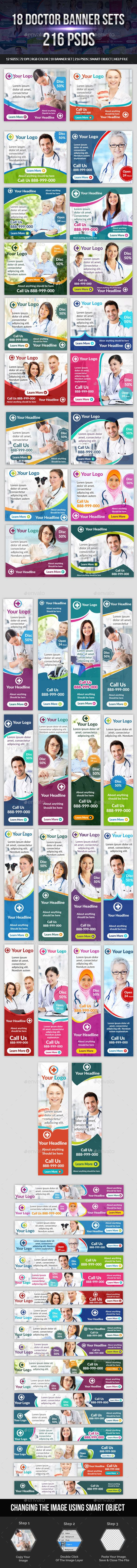 18 Doctor Banner Sets Templates PSD. Download here: https://graphicriver.net/item/18-doctor-banner-sets/17415425?ref=ksioks