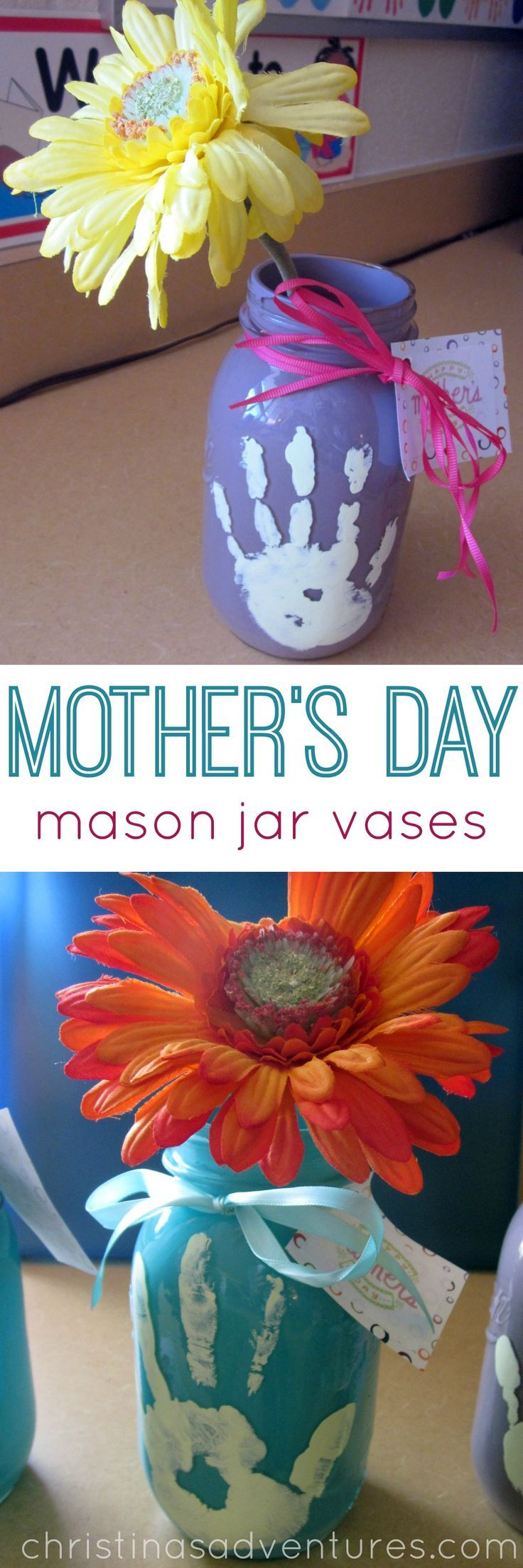 Easy kids craft: Hand print Mother's Day mason jar vases  #MothersDay #MasonJar #kidscraft