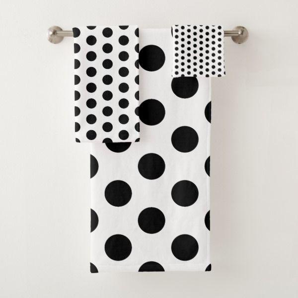 Classic Black And White Polka Dot Bath Towel Set Zazzle Com