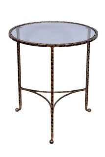 Hammered End Table in Antique Gold by Tantra Mirrors