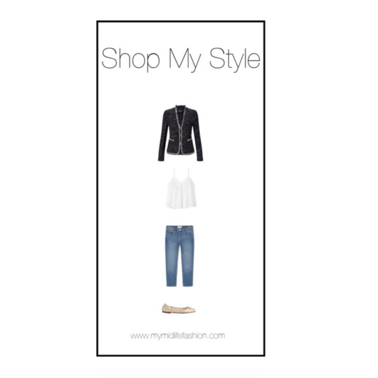Navy knitted jacket teamed with a simple camisole, cropped jeans & metallic ballet pumps