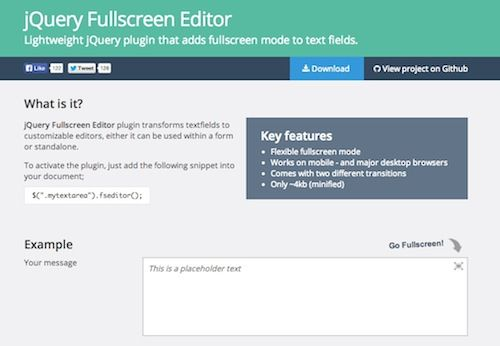 jQuery Fullscreen Editor @Team Mango Media Private Limited Via http://www.themangomedia.com/blog/the-most-important-jquery-tips-and-best-jquery-plugins-of-2014/