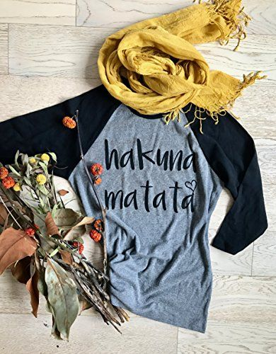 Hakuna Matata. This soft-feel 3/4 sleeve raglan shirt is hand printed with earth friendly ink. Gift-able package. Our 100% combed cotton GirlThreads shirts are super soft and will instantly become one of your favorite workout shirts in the closet!! Ink color is as shown in the photo, but if you... http://darrenblogs.com/us/2017/11/20/hakuna-matata-disney-shirt-clothing-womens-t-shirts-t-shirts-ladies-fit-womenss-raglan-shirts-baseball-raglan-shirts/