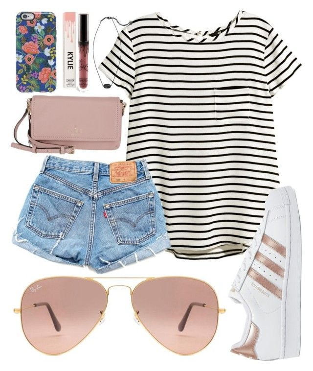 """""""Boardwalk"""" by jadenriley21 on Polyvore featuring Kate Spade, Rifle Paper Co, H&M, Levi's, adidas Originals, Kendra Scott and Ray-Ban"""