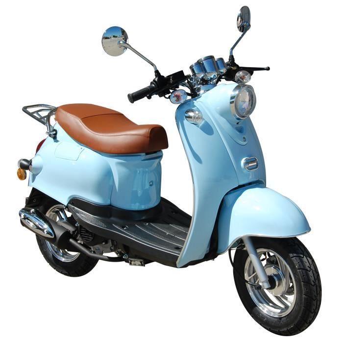 Scooter Retro 50cc 4t Euro 4 Bleu Pastel Carte Grise Pas Cher