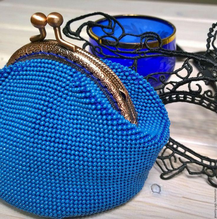 Купить Кошелек монетница из бисера Синяя - однотонный, синий, кошелек из бисера, кошелек монетница, из бисера