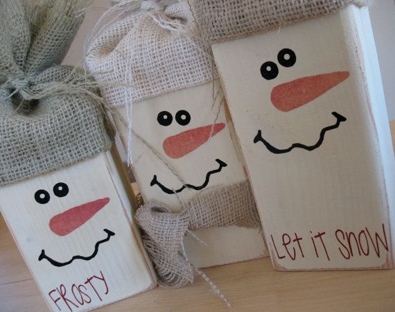 See these wood block characters all over the stores during holidays - I'm convinced I can give em a DIY try!
