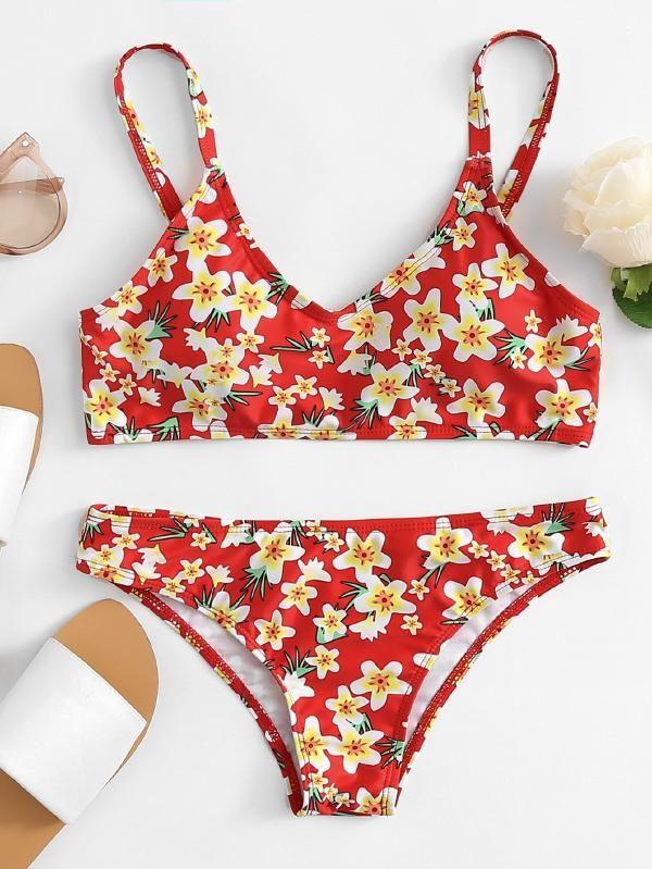 3420d8b2ee Calico Print Bikini Set -SheIn(Sheinside)   swimsuits in 2019 ...
