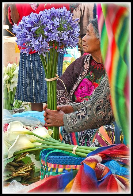 Agapanthus and calla lilies from the Highland flower market.  Chichicastenango, Guatemala.